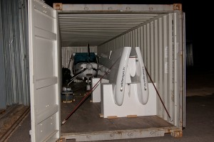 Rally packed up in a container ready to ship